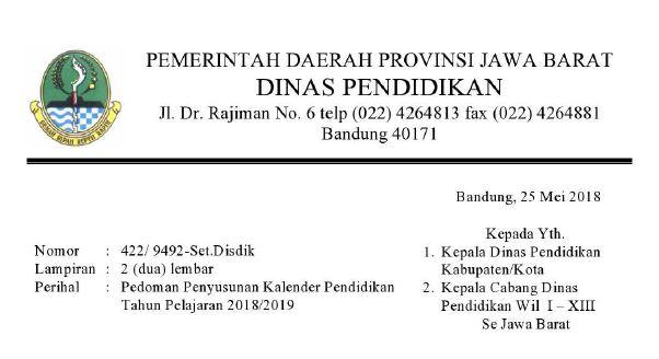 kalender akademik 2018/2019 Jawa Barat