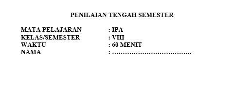 Latihan Soal PTS IPA Kelas 8 Semester 1