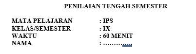 Latihan Soal PTS IPS Kelas 9 Semester 1
