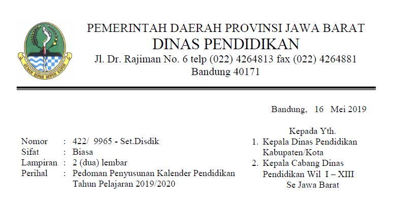 Kalender Akademik 2019/2020 Jawa Barat