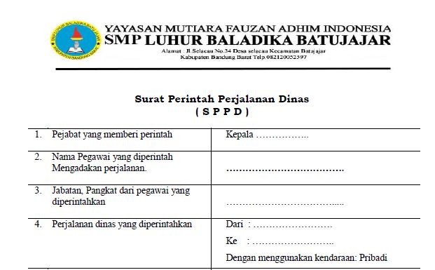 Contoh format sppd