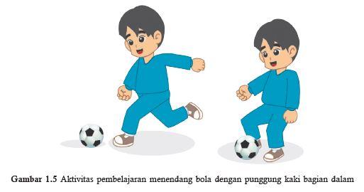 mendendang bola dengan punggung kaki bagian dalam