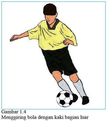 menggiring bola dengan kaki bagian luar