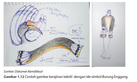 Contoh gambar kerajinan tekstil dengan ide simbol Burung Enggang