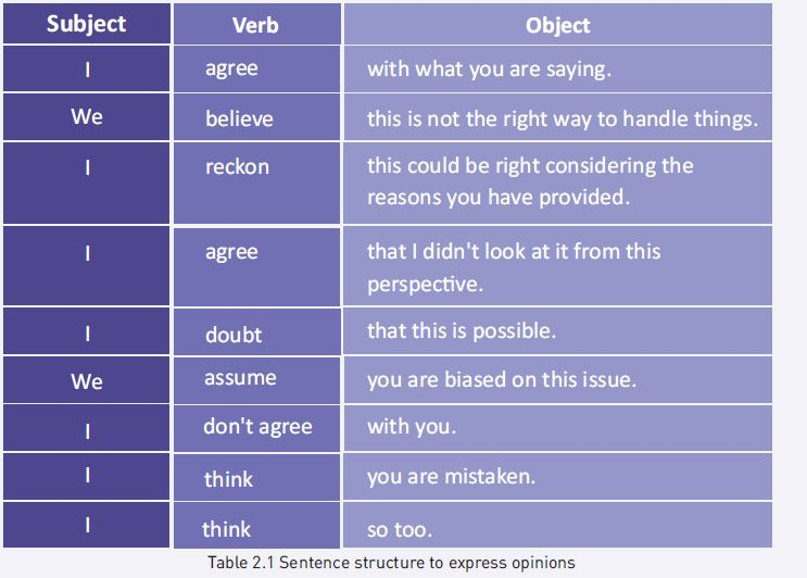 sentence structure to express opinions